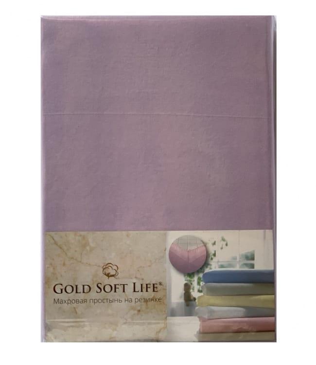 Простирадло Gold Soft Life Terry Fitted Sheet 180*200*20см трикотажна на резинці бузкова арт.ts-02026