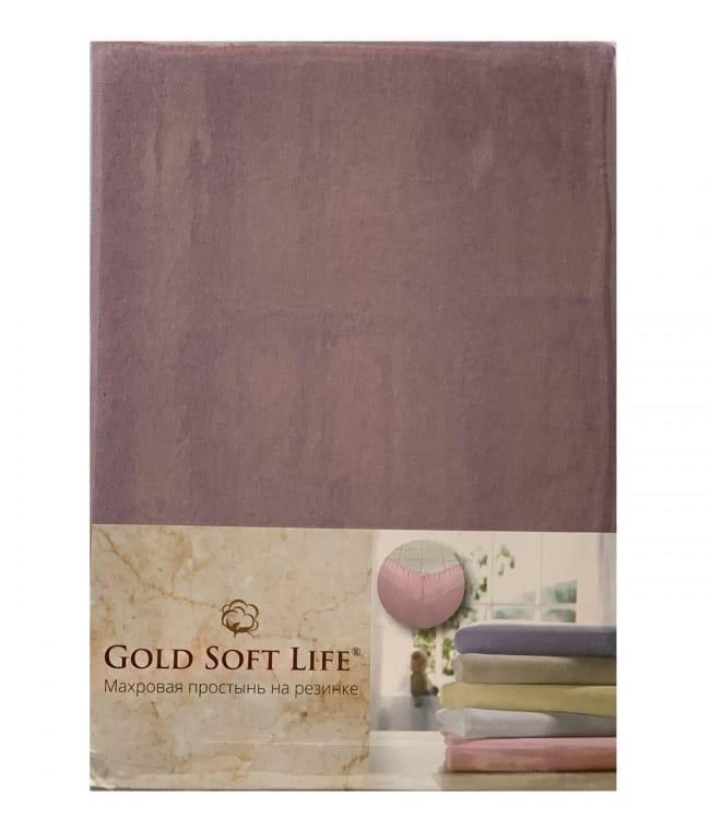 Простирадло Gold Soft Life Terry Fitted Sheet 180*200*20см трикотажна на резинці фіолетова арт.ts-02030