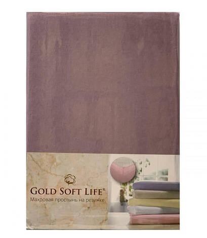 Простынь Gold Soft Life Terry Fitted Sheet 180*200*20см трикотажная на резинке фиолетовая арт.ts-02030, фото 2