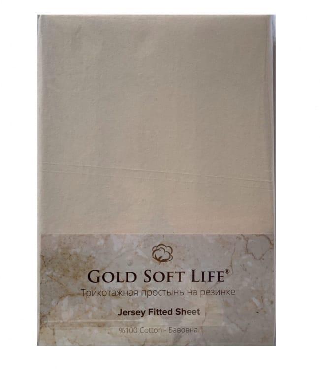 Простирадло Gold Soft Life Terry Fitted Sheet 90*200*20см трикотажна на резинці кремова арт.ts-02018