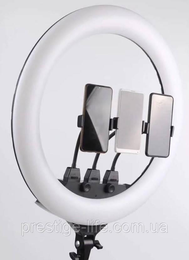 Профессиональная кольцевая LED лампа SLP-G500 (45см) с тремя держателями и пультом, 220V