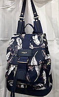 Рюкзак тканевый женский маленький синий с пряжкой принт Листья Dolly 302