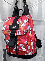 Рюкзак тканевый женский модный красный маленький с пряжкой принт Листья Dolly 302