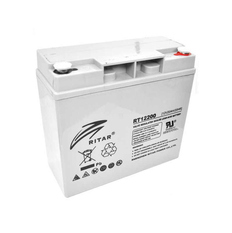 Аккумулятор для ИБП 12В 20Ач AGM Ritar RT12200 / 12V 20.0Ah / 181х77х167 мм