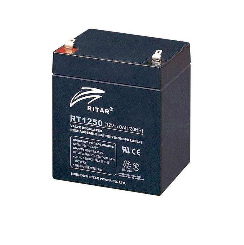 Аккумулятор для ИБП 12В 5Ач AGM Ritar RT1250B / 12V 5.0Ah / 90х70х107 мм