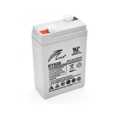Аккумулятор для ИБП 6В 2.8Ач AGM Ritar RT628 / 6V 2.8Ah / 66х33х104 мм, фото 2