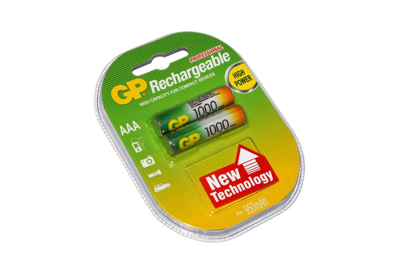 Аккумуляторы ААА, 1000 mAh, GP, 2 шт, 1.2V, Blister (GP100AAAHC-2PL2)