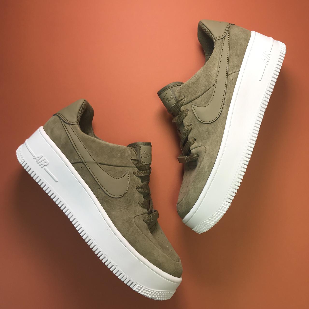 Женские кроссовки Nike Air Force Low Sage Platform Green, женские кроссовки найк аир форс лов сага