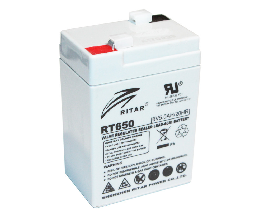 Аккумулятор для ИБП 6В 5.0Ач AGM Ritar RT650 / 6V 5.0Ah / 70х47х107 мм
