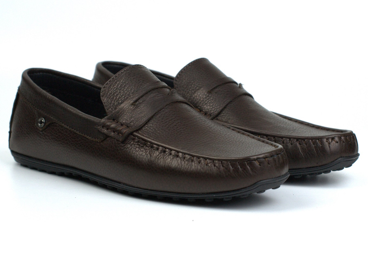 Мокасины коричневые кожаные мужская обувь больших размеров ETHEREAL BS Chelsea Brown Leather