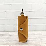 Ключница на 4 ключа 4keys желтая из натуральной кожи crazy horse, фото 5