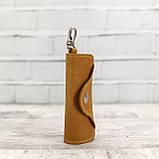 Ключница на 4 ключа 4keys желтая из натуральной кожи crazy horse, фото 6