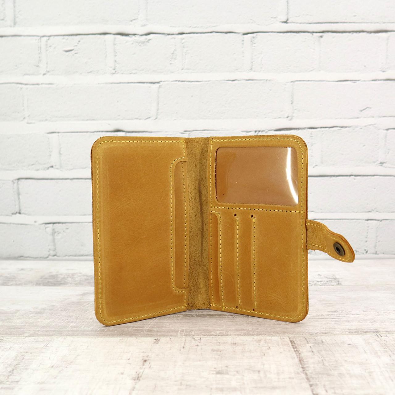 Кошелек Mihey window жёлтый из натуральной кожи crazy horse 1230208