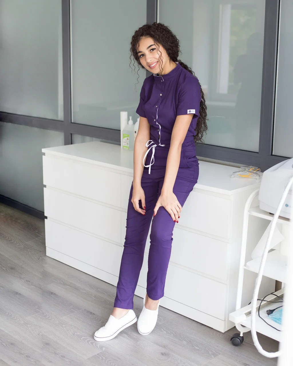 """Комбинезон """"Даллас"""" фиолетовый с белой строчкой"""
