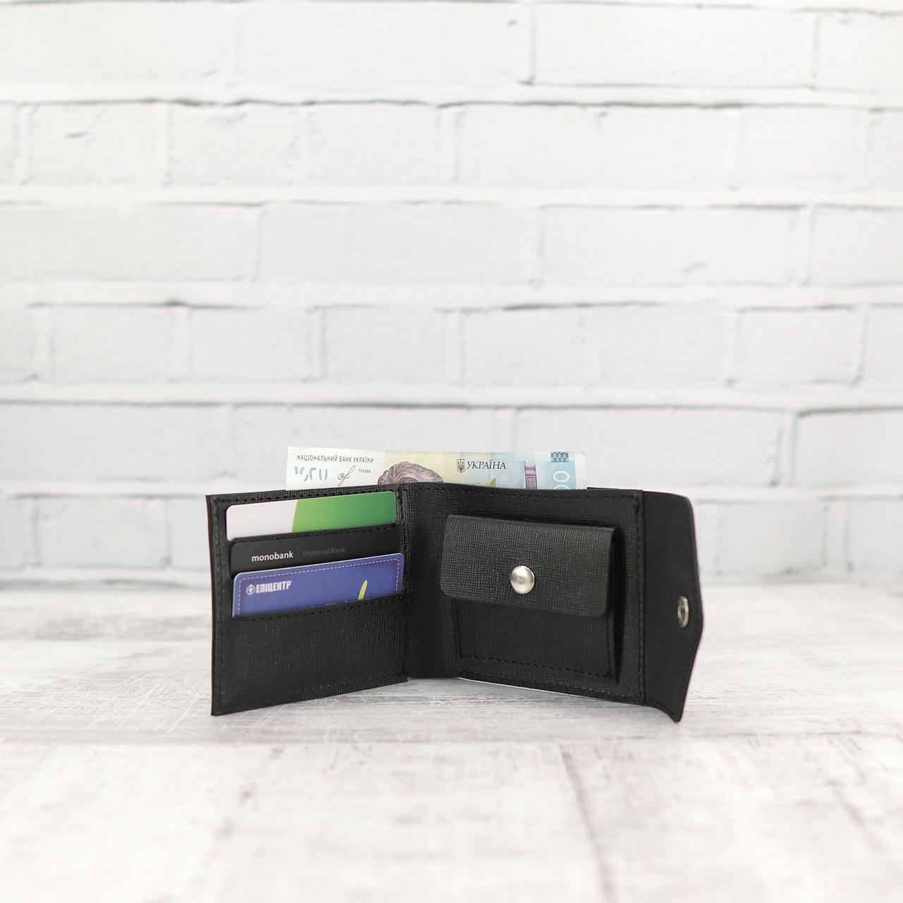 Кошелек square черный из натуральной кожи saffiano