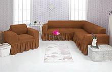 Чехол натяжной на угловой диван и кресло DONNA  горчичный  и еще 15 расцветок