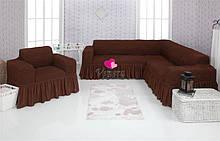 Чехол натяжной на угловой диван и кресло DONNA шоколадный  и еще 15 расцветок