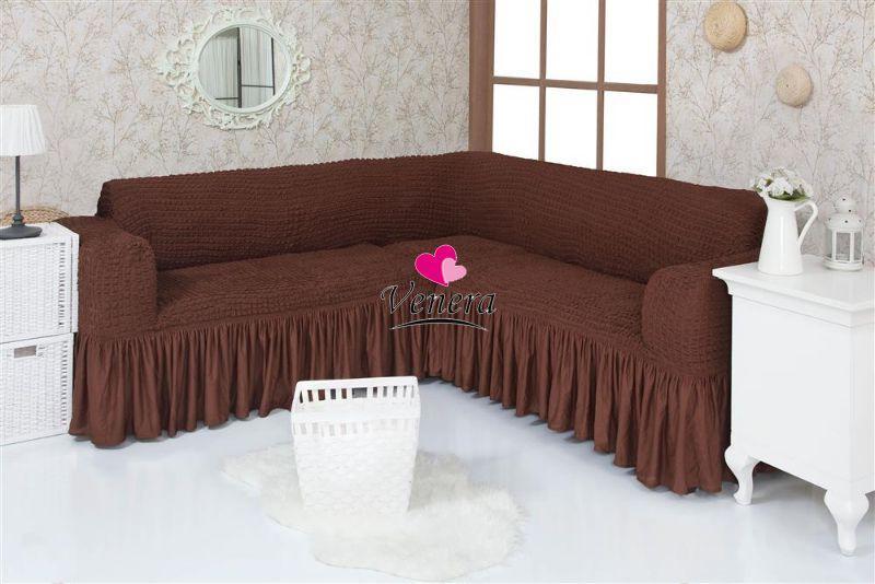 Чехол натяжной на угловой диван DONNA шоколадный  и еще 15 расцветок