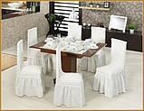 Чехлы натяжные с рюшем на стулья DONNA  кремовые (набор 6 шт.), фото 3