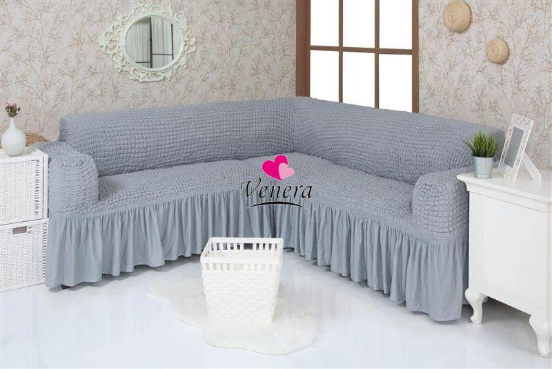 Чехол натяжной на угловой диван DONNA светло-серый  и еще 15 расцветок