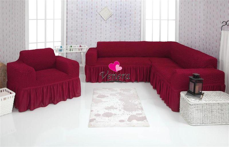 Чехол натяжной на угловой диван и кресло DONNA  бордовый  и еще 15 расцветок