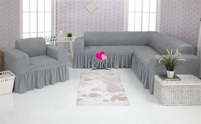 Чехол натяжной на угловой диван и кресло серый DONNA  и еще 15 расцветок