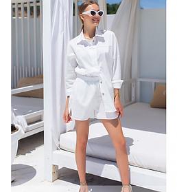 Костюм белый льняной летний женский шорты и белая рубашка лен размеры 42-44,46-48