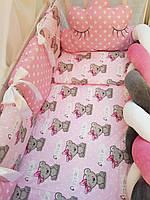 """Набор постельного белья в детскую кроватку/ манеж """"Коса"""" - Бортики / Защита в кроватку"""