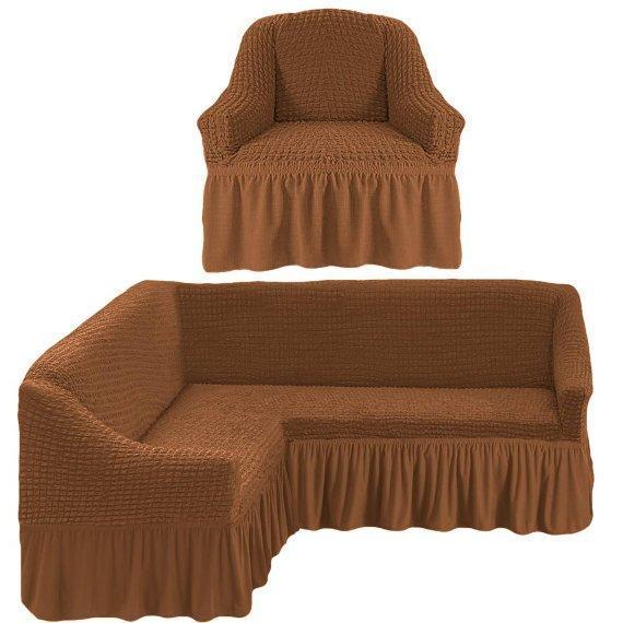 Чехол натяжной на угловой диван и кресло DONNA горячий шоколад  и еще 15 расцветок