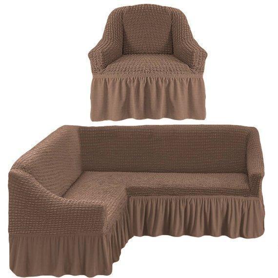 Чехол натяжной на угловой диван и кресло DONNA темно-бежевый  и еще 15 расцветок