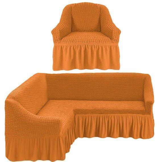 Чехол натяжной на угловой диван и кресло DONNA рыжий  и еще 15 расцветок