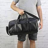 Дорожная сумка tube mini черная из эко кожи, фото 2