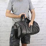 Дорожная сумка tube mini черная из эко кожи, фото 3