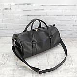 Дорожная сумка tube mini черная из эко кожи, фото 4