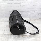 Дорожная сумка tube mini черная из эко кожи, фото 6