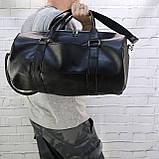 Дорожная сумка tube mini черная из эко кожи, фото 5