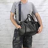 Дорожная сумка tube mini черная из эко кожи, фото 7