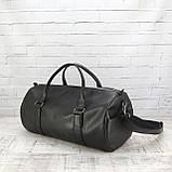 Дорожная сумка tube mini черная из эко кожи, фото 8