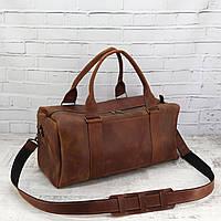 Дорожная сумка Mihey cube long коньячная из натуральной кожи crazy horse 1471001