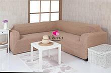 Чехол натяжной на угловой диван и 1 кресло без оборки DONNA темно-бежевый. Чехол полностью обтянет ваш диван