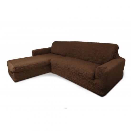 Чехол натяжной на угловой диван с  выступом DONNA шоколадный. Чехол полностью обтянет ваш диван!!!