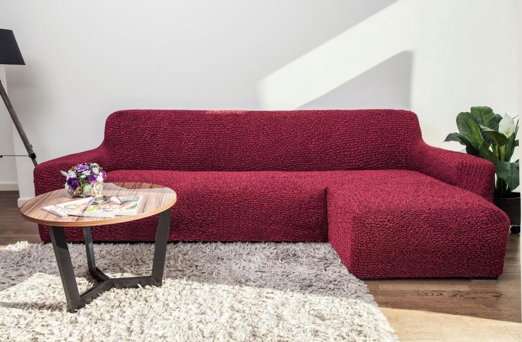 Чехол натяжной на угловой диван с выступом DONNA бордовый.  Чехол полностью обтянет ваш диван!!!