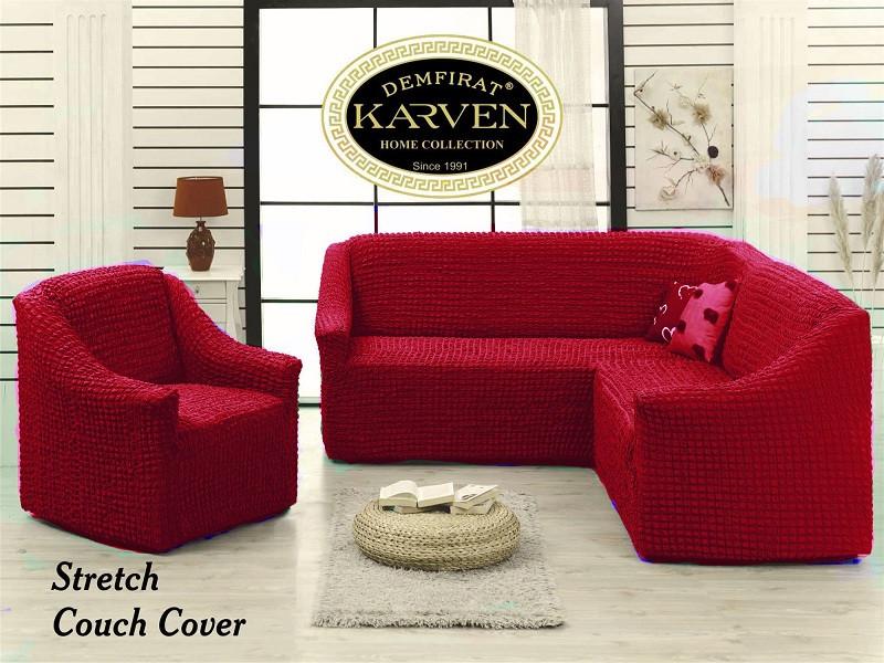 Чехол натяжной на угловой диван и 1 кресло без оборки DONNA бордовый.Чехол полностью обтянет ваш диван!!!