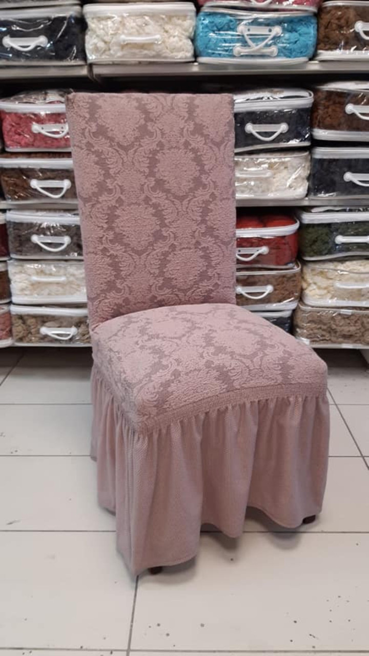 Чехлы с рюшем на стулья жаккардовые DONNA  натяжные набор 6-шт пудровые