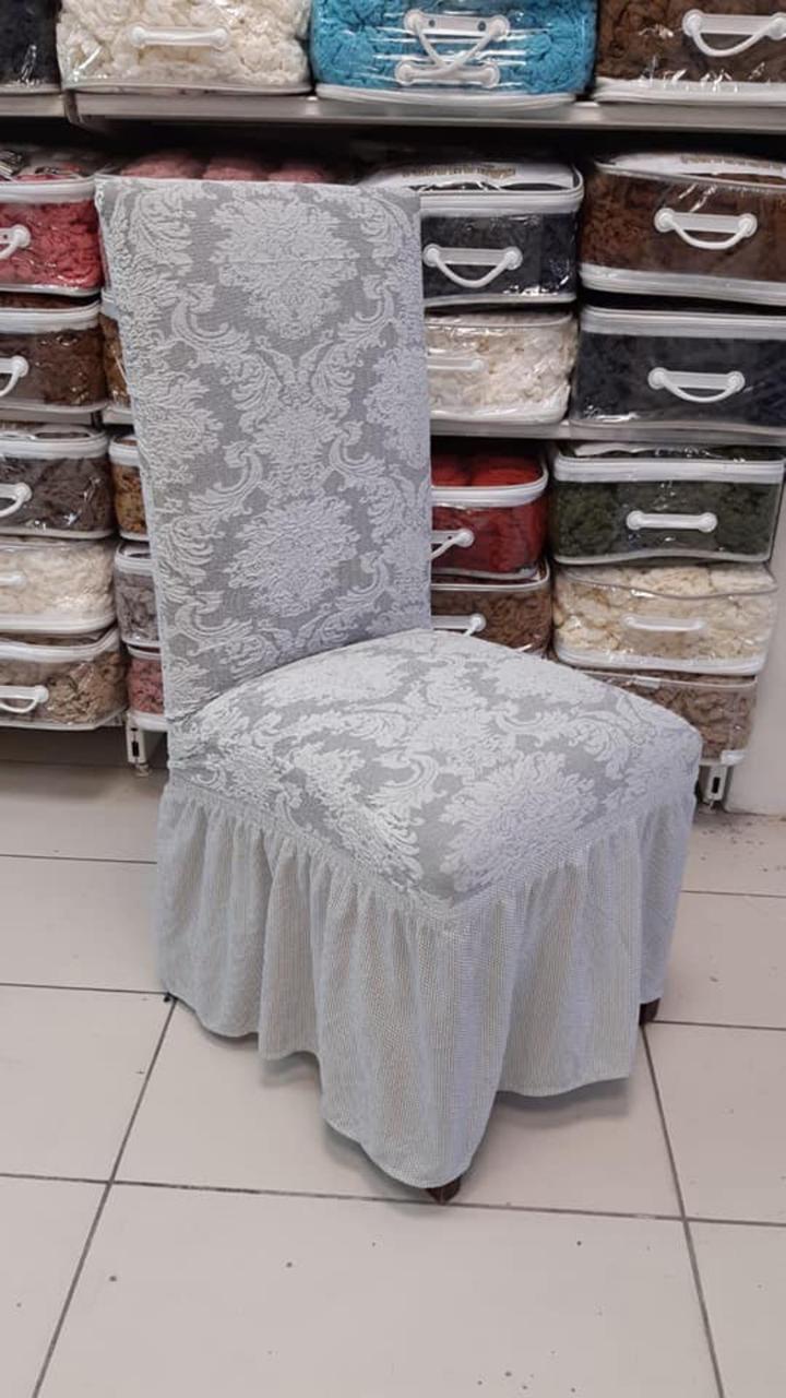 Чехлы с рюшем на стулья жаккардовые DONNA натяжные набор 6-шт кремовые