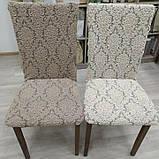 Чехлы без оборки на стулья жаккардовые DONNA  натяжные набор 6-шт капучино № 5, фото 2