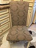 Чехлы без оборки на стулья жаккардовые DONNA  натяжные набор 6-шт коричневые № 6, фото 2