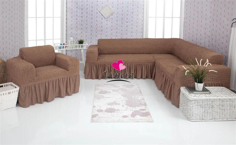 Чехол натяжной на угловой диван и кресло DONNA  мокко 202  и еще 15 расцветок