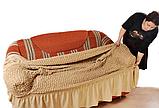 Чехол натяжной на угловой диван и кресло DONNA  мокко 202  и еще 15 расцветок, фото 2