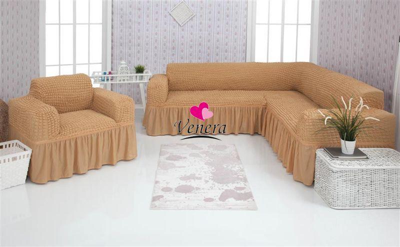 Чехол натяжной на угловой диван и кресло DONNA   песочный 203  и еще 15 расцветок